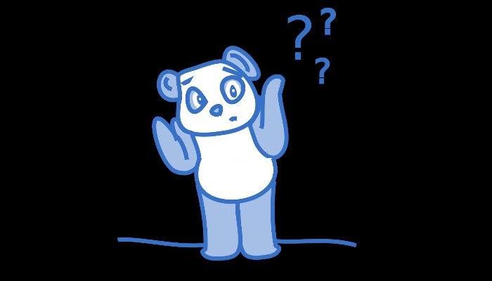 Panda bear shrugging with question marks in the back ground