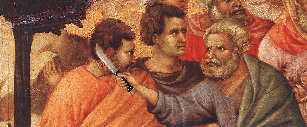 Peter cuts off Malchus' ear