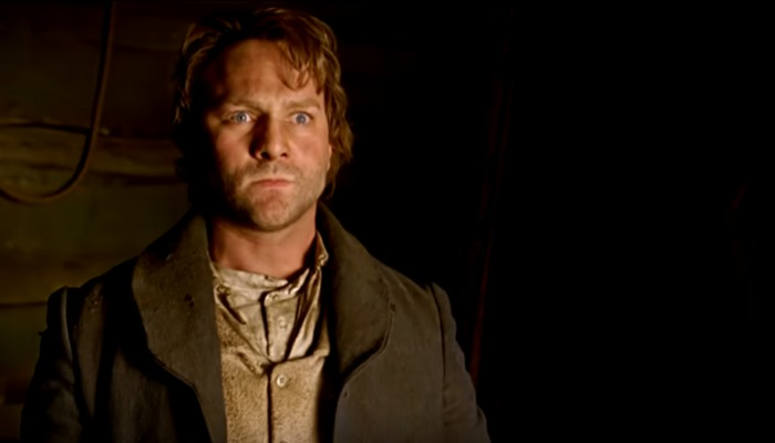Actor portraying Joseph Smith looking intense.