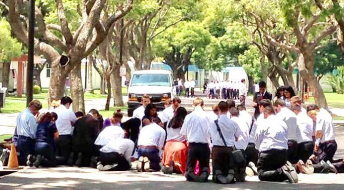 Missionaries praying during earthquake in Mexico