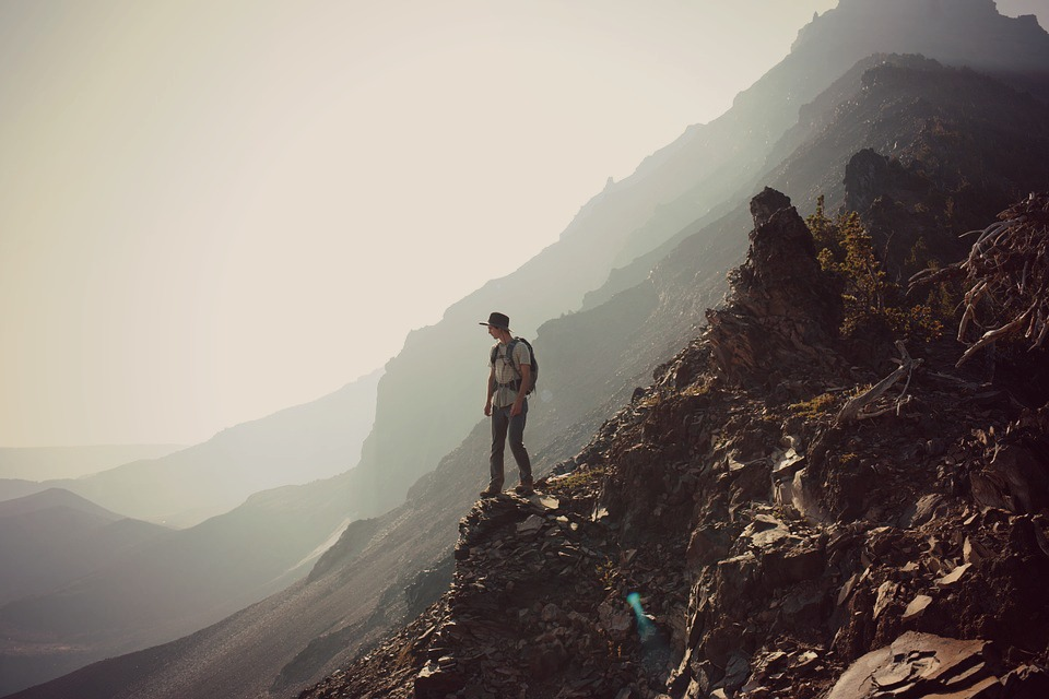 Man hiking mountain