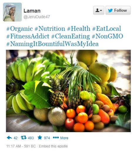 Laman tweets about fruit
