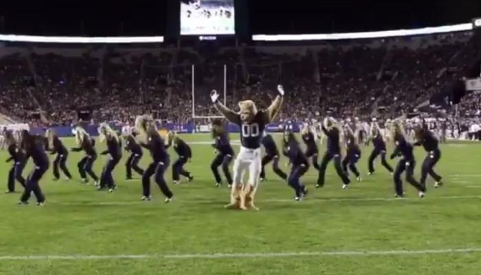 BYU mascot dancing