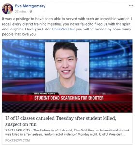A shared comment on ChenWei's Facebook Page expresses this friend's sadness at the news of his death