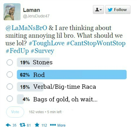 Laman takes a survey via Twitter
