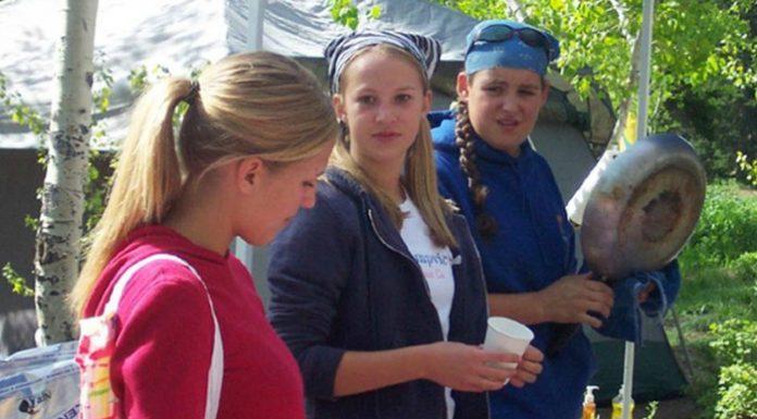 3 girls at an LDS Girl's Camp