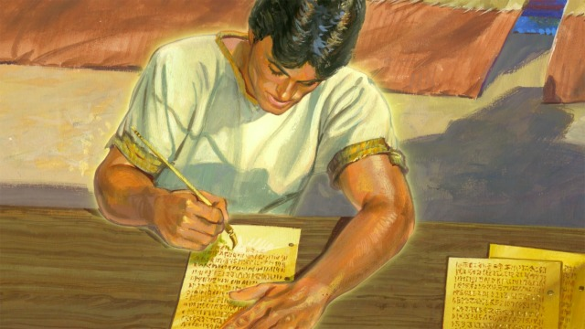 Illustration of Nephi writing on golden plates