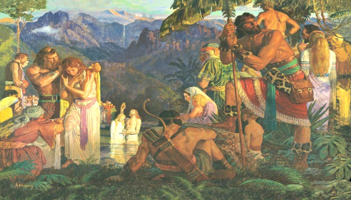 Alma baptizing at the waters of Mormon