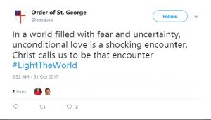 "Social media post taken from Twitter stating,""In a world filled with fear and uncertainty, unconditional love is a shocking encounter. Christ calls us to be that encounter. #lighttheworld"""