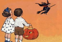 Two children who appear to have been trick-or-treating look up at a witch flying on her broom.