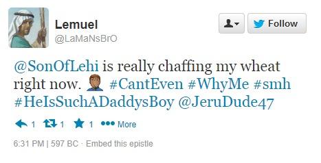 Lemuel tweets about Nephi