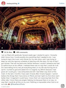 A picture of a grand stage with a crows is followed by Lindsey Sterling's full post. Click photo to be taken to Instagram