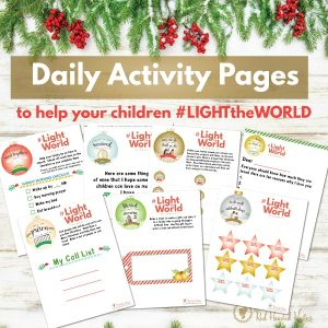 kids daily activity pages Light the World