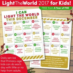 Light the World kids service calendar