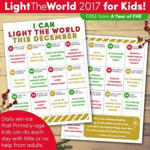 Light the World kids service calendar
