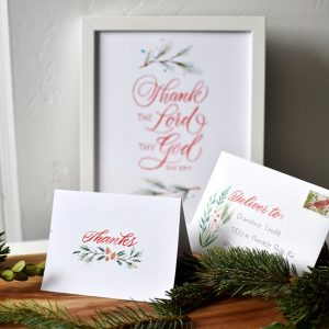 calligraphy Christmas Thank You cards