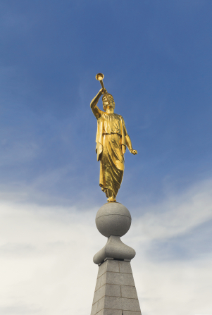 Angel Moroni on top of Salt Lake Temple, covered in gold leaf