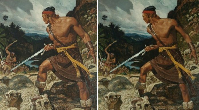 Side by side images of Ammon painting