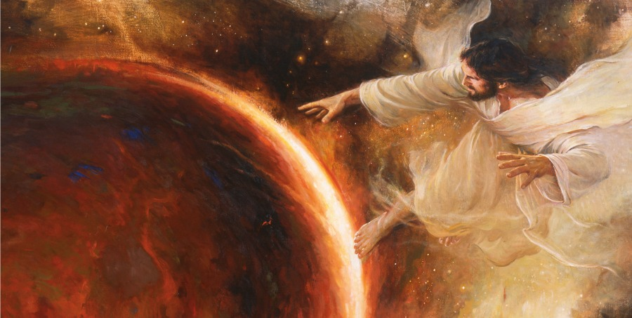 A painting of Christ creating a planet