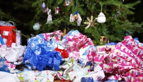 Christmas wrapping paper mess