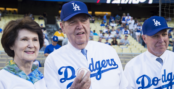 Photo of Elder Jeffrey R Holland at a Dodgers baseball game.