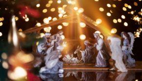 nativity and lights