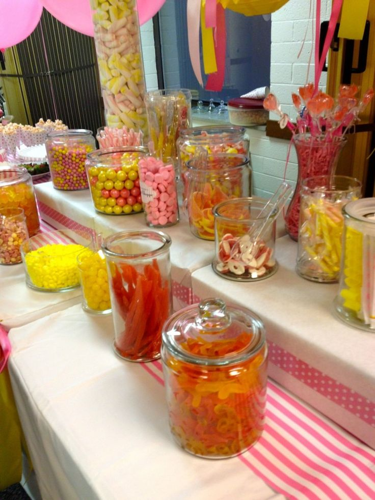 assorted candies in jars