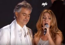 "Image of Celine Dion and Andrea Bocelli singing ""The Prayer"""