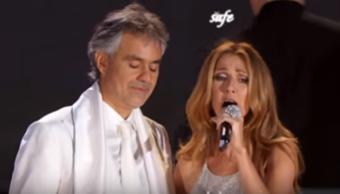 Image of Celine Dion and Andrea Bocelli singing