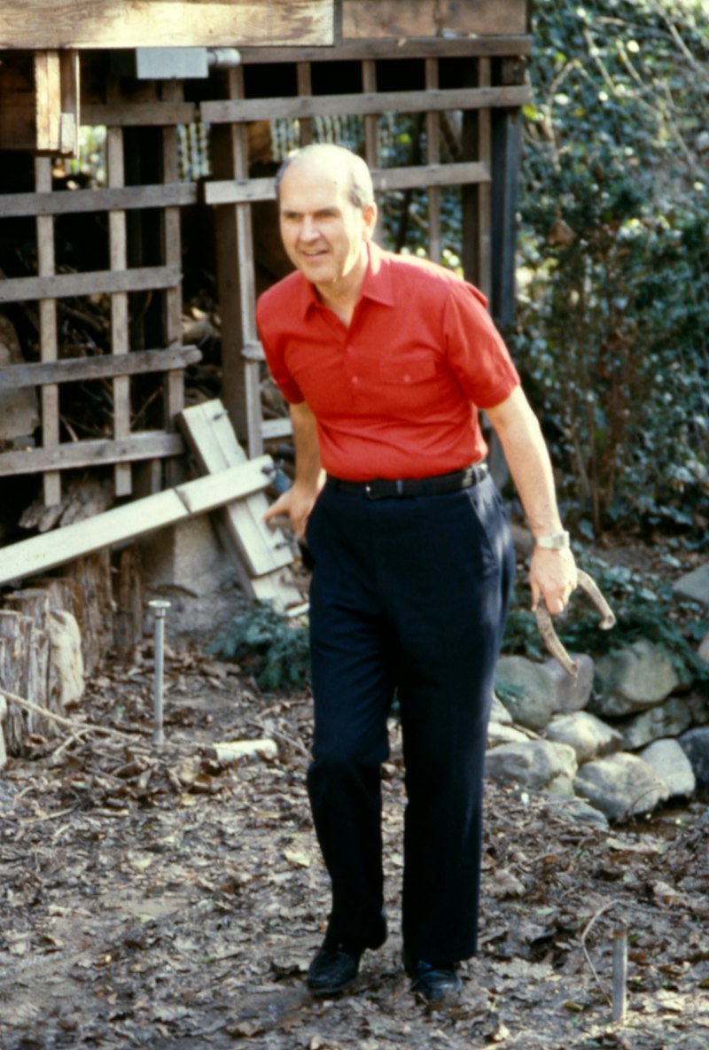 Russell M. Nelson playing horseshoes