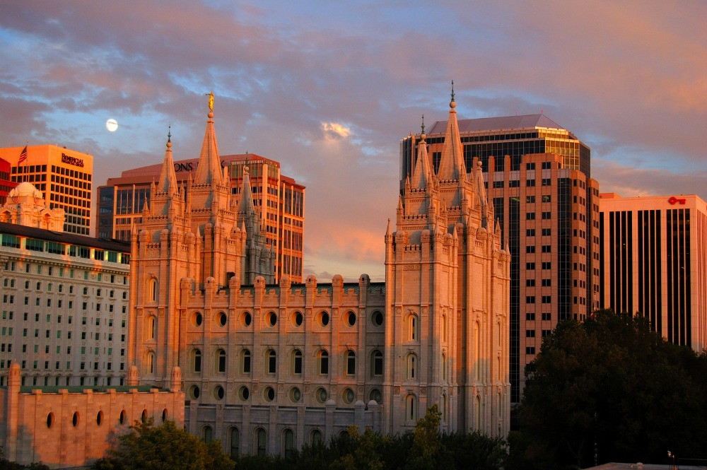 Salt Lake City temple in the evening