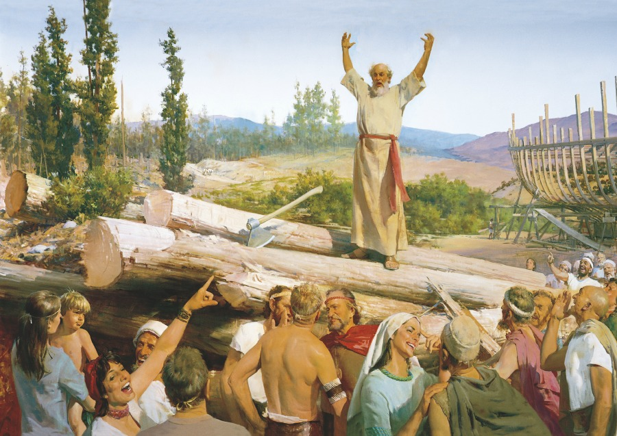 The prophet Noah being persecuted for building an ark.