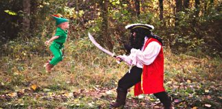 dramatization of Captain Hook fighting Peter Pan