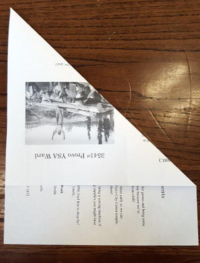 Ward Bulletins paper airplane step 1