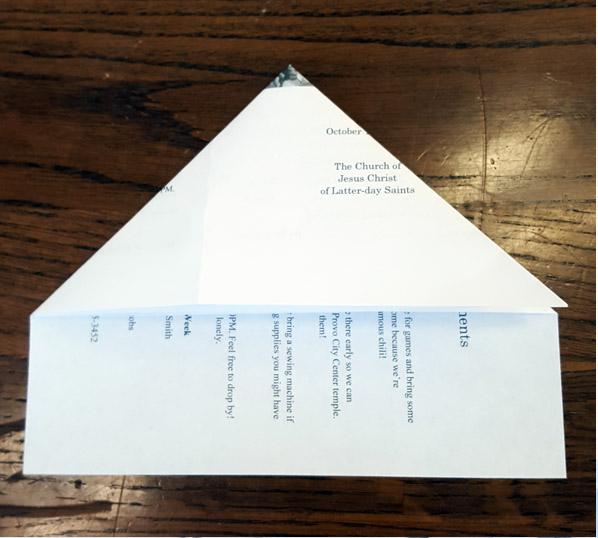 Ward Bulletins paper airplane step 2
