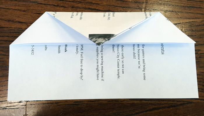 Ward Bulletins paper airplane step 3