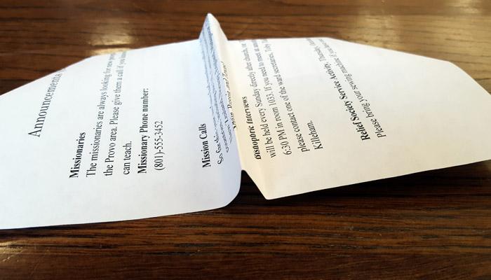 Ward Bulletins paper airplane step 5