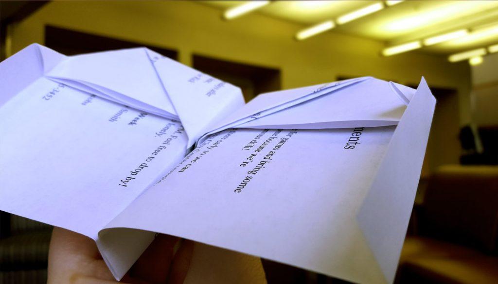 Ward Bulletins paper airplane step 7