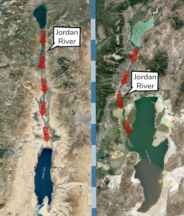 Map of Jordan River in Palestine and Utah.