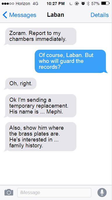 Fake text message conversation.