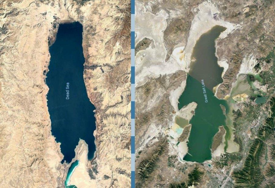 Dead Sea next to Great Salt Lake