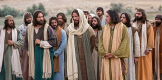 apostles walking with Jesus