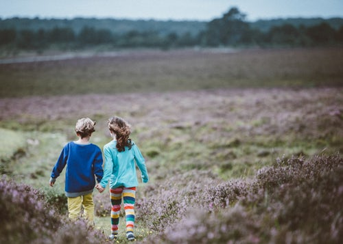 Two children holding hands and walking away from the camera