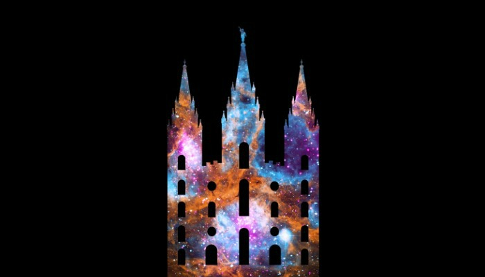 Stylized image of a Mormon temple