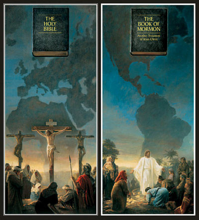 The Bible and Jerusalem side by side with The Book of Mormon in America