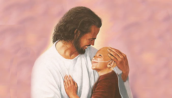Christ holding cancer patient