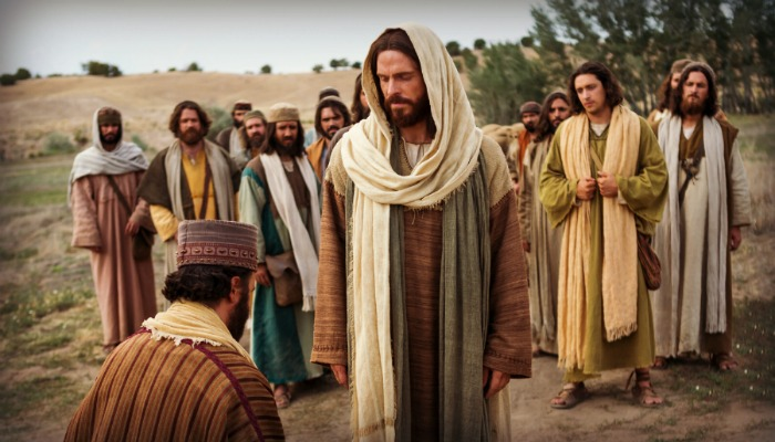 A man bows to Christ
