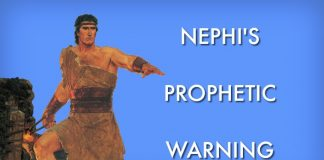 "The prophet Nephi along with the text: ""Nephi's Prophetic Warning"""