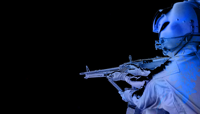 Blue soldier with a gun rumors of war