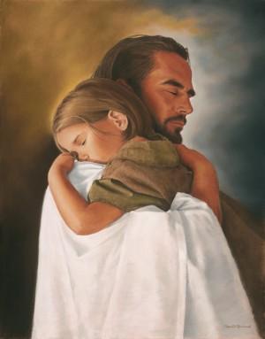 Christ hugging a girl